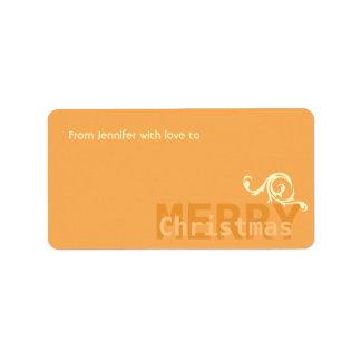 Orange Minimalistic Floral Detail Merry Christmas Address Label