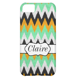 Orange Mint White Black Chevron Monogram iPhone 5C Cover