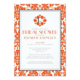 Orange Monogram Damask Bridal Shower Invitations