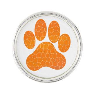 Orange Mosaic Tile Paw Print Design Lapel Pin