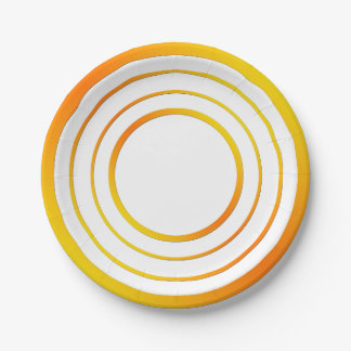 Orange n Yellow Rings 7 Inch Paper Plate