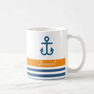 Orange Navy Nautical Theme Coffee Mug