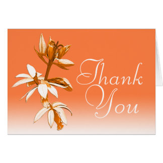 Orange Orchid Colorful Fun Modern Floral Thank You Note Card