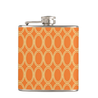 Orange Ovals Pattern Hip Flask