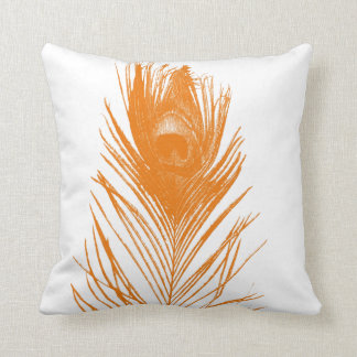 Orange Peacock Feather Pillows
