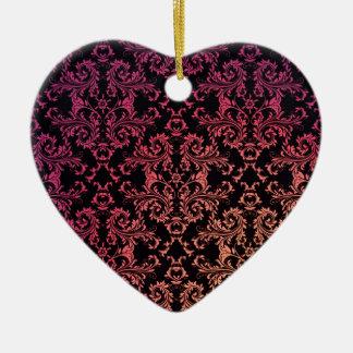 Orange Pink Black Damask Pattern Ceramic Heart Decoration