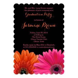 Orange Pink Black Gerbera Daisy Graduation Party Invitation