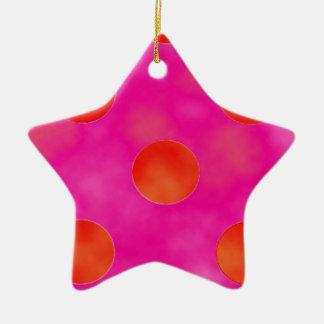 Orange & Pink Dots Ceramic Star Decoration
