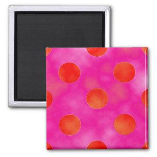 Orange & Pink Dots Fridge Magnet