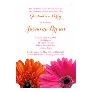 Orange Pink Gerbera Daisy 2014 Graduation Party Custom Announcement