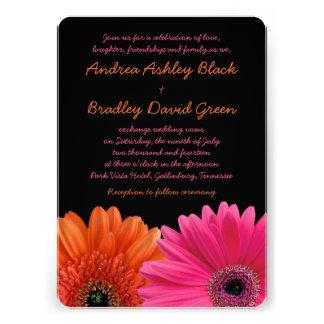 Orange Pink Gerbera Daisy Black Wedding Invitation