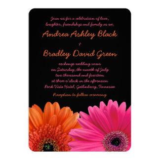 "Orange Pink Gerbera Daisy Black Wedding Invitation 5"" X 7"" Invitation Card"