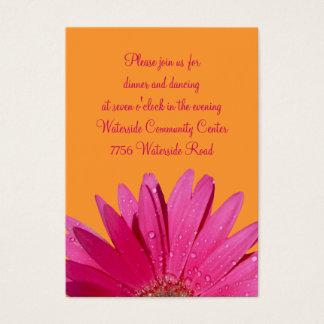 Orange & Pink Gerbera Daisy Reception Card