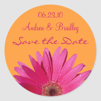 Orange Pink Gerbera Daisy Save the Date Sticker