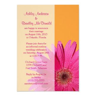 Orange Pink Gerbera Daisy Wedding Reception Only 13 Cm X 18 Cm Invitation Card
