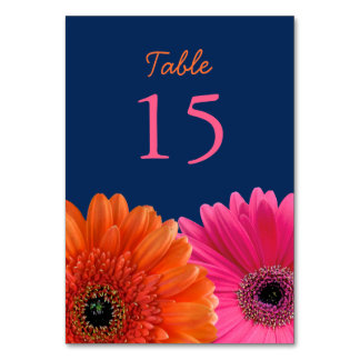 Orange Pink Gerbera Gerber Daisy Navy Wedding Table Cards