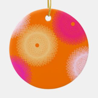 orange & pink pop color round ceramic decoration