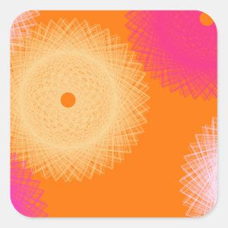 orange & pink pop color square sticker
