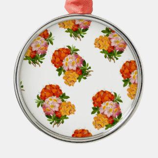 Orange, Pink & Red Vintage Floral Christmas Ornament