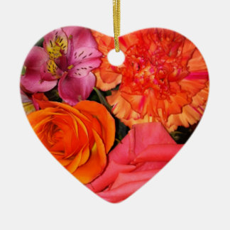 Orange & Pink Roses Bouquet Ceramic Heart Decoration