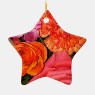Orange & Pink Roses Bouquet Ceramic Star Decoration