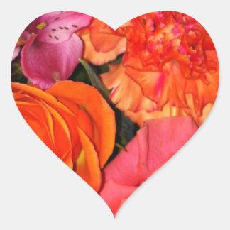 Orange & Pink Roses Bouquet Heart Sticker