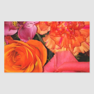 Orange & Pink Roses Bouquet Rectangular Sticker
