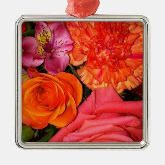 Orange & Pink Roses Bouquet Silver-Colored Square Decoration