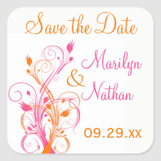 "Orange Pink White Floral 1.5"" Wedding Sticker"