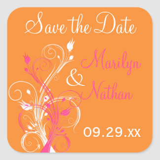Orange Pink White Floral Save the Date Sticker
