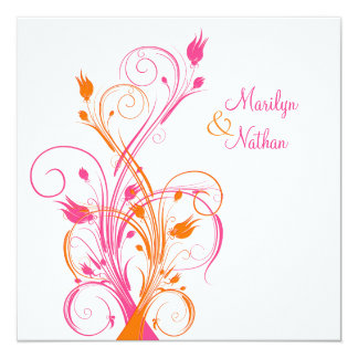 Orange Pink White Floral Square Wedding Invitation
