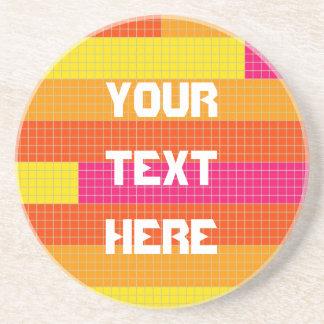 Orange Pink Yellow Pixel Pattern Drink Coaster