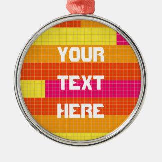 Orange Pink Yellow Pixel Pattern Silver-Colored Round Decoration
