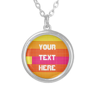 Orange Pink Yellow Pixel Pattern Silver Plated Necklace