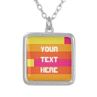 Orange Pink Yellow Pixel Pattern Square Pendant Necklace