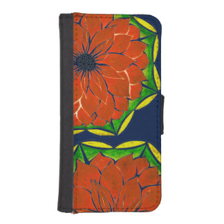 ORANGE POINSETTIA Design iPhone SE/5/5s Wallet Case