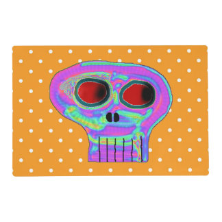 Orange Polka Dot and Sugar Skull Placemat Laminated Place Mat