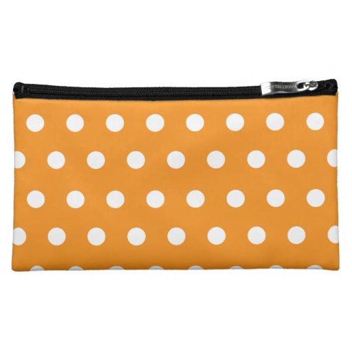 Orange Polka Dot Cosmetics Bags