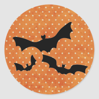 Orange Polka Dot Bat Halloween Sticker