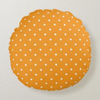 Orange Polka Dot Design Round Cushion