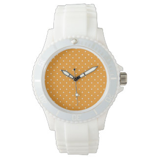 Orange Polka Dot Design Wrist Watch