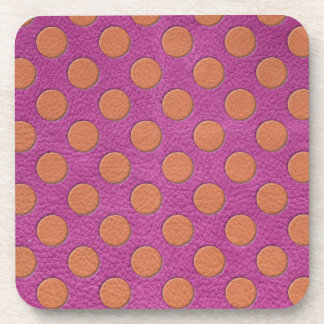 Orange Polka Dots on Pink Magenta Leather print Coaster