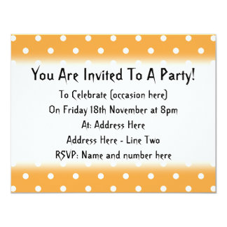 Orange Polka Dots Pattern. 11 Cm X 14 Cm Invitation Card
