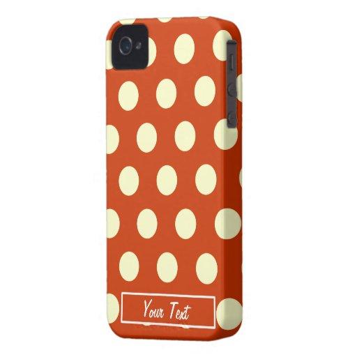 Orange Polka Dots - Personalize Case-Mate iPhone 4 Case
