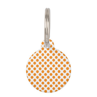 Orange Polka Dots Pet Name Tag