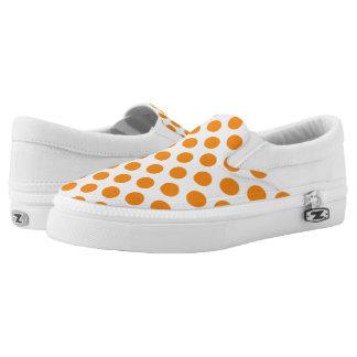 Orange Polka Dots Printed Shoes