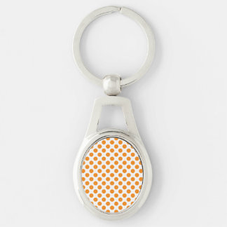 Orange Polka Dots Silver-Colored Oval Key Ring
