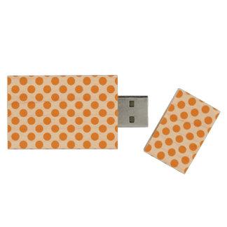 Orange Polka Dots Wood USB 3.0 Flash Drive