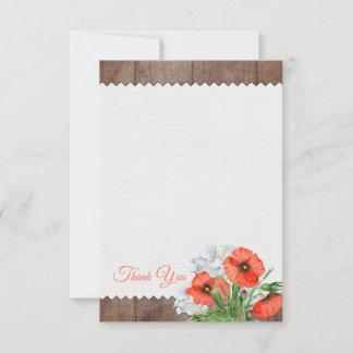 Orange Poppies Rustic Wood Wedding Thank You Card