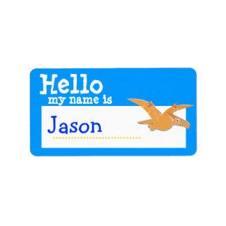 Orange Pteranodon Hello My Name is Badge Blue Address Label